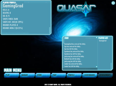 Quasar's Lobby Screen